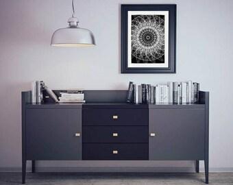 Limited edition Sacred geometry | mandala | bohemian | art print | unique art | black and white | monochrome | giclee | house warming gift