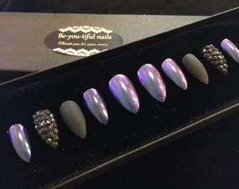 Hand Painted Full Cover Stiletto Black Matt . Chameleon.false nails