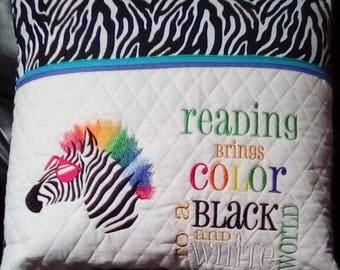 Zebra Reading Pocket Pillow, Reading Pillow, Book Pillow, Pocket Pillow, Gift for Readers, Birthday Gift , Reading Pillow gift