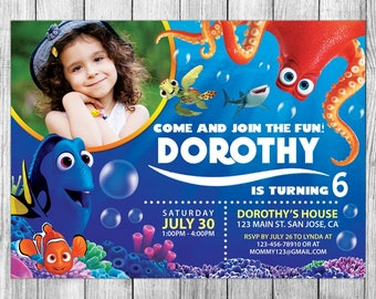Finding Dory Invitations, Finding Dory Invite, Finding Dory Birthday, Finding Dory Party, Finding Dory Custom, FREE 4x6 Thank You Card