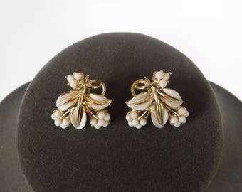 Coro White Enamel Earrings Gold Tone Leaves and Berries
