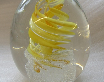 Yellow swirl glass Paperweight