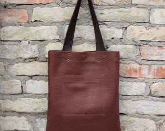 Brown Leather Tote, Tote Bag, Brown Tote, Simple Tote, Leather Tote Bag, Large Leather Bag, Genuine Leather Bag, Natural Leather Bag