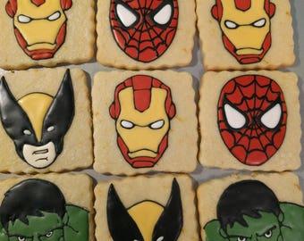 Marvel Cookies, Super Heroes Cookies, Spider Man Cookies, Iron Man Cookies, Hulk Cookies - 1 Dozen