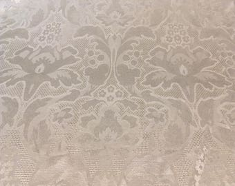 White satin damask with day lily and floral - medium weight fabric