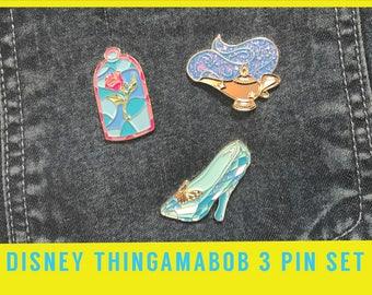 DISNEY THINGS PIN set - Genie lamp Disney Pixar Jasmine Cinderella slipper beauty beast rose gift art wish gold brooch gift birthday lapel