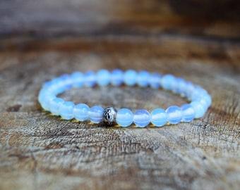 Opalite / Mala Bracelet / Hill Tribe Silver / Yoga Jewelry / Spiritual Jewelry / Stretch Bracelet / Healing Bracelet / OM Bracelet