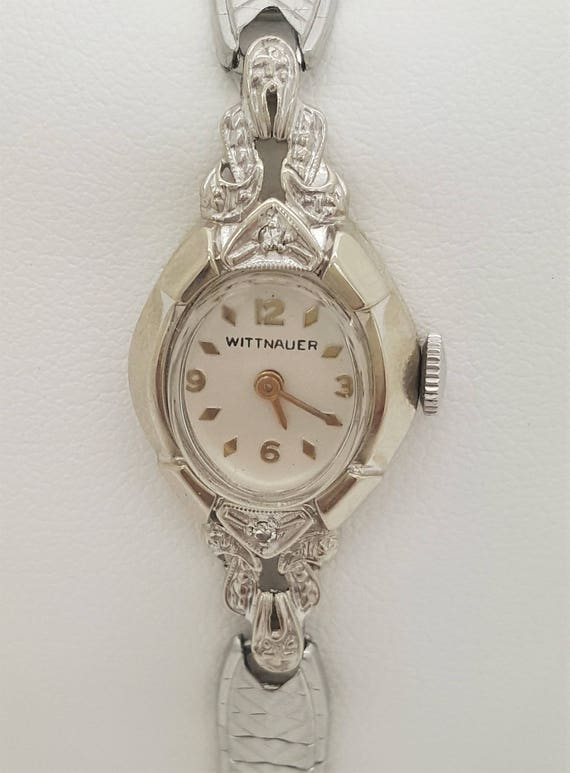 A vintage wittnauer 14k white gold ladies wrist watch like this item sciox Choice Image