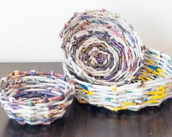 Decorative Hand Woven Storage Paper Bowl - eco friendly decor recycling magazine basket wicker newspaper vase straws bowl organizer box gift