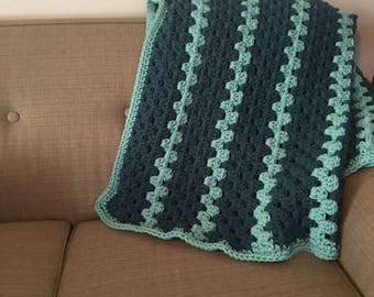 Teal and Aqua Granny Stripe Blanket