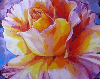 Rainbow flower-painting by oil on canvas/Rainbow Rose-Pretty interior art. 60 cm