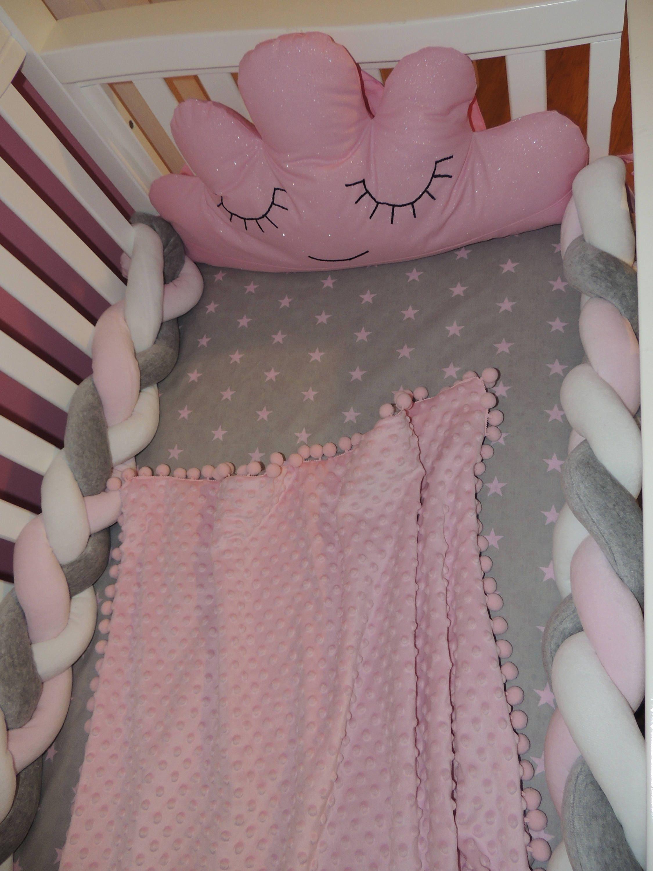 Mixed Braided Crib Bumper Sleepy Cloud Nursery