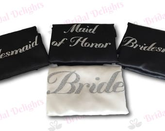 Bridal Robes Set of 4 Bridesmaid Robe Set White and Black with Silver Glitter Print (Font Mademoisellle) Bridal Party Robe Set