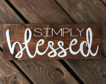 Simply blessed wood decor sign