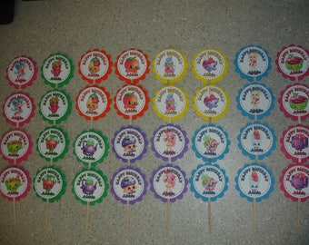 32 SHOPKINS Cupcake Toppers PERSONALIZED - Picks Party Favors