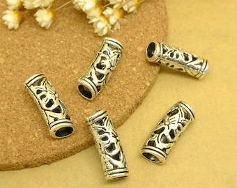 20pcs New Flower Charm  Antique Silver Zinc Alloy Beads Hollow Spacer Tube Beads Jewelry Making Bracelet Wholesale Accessories