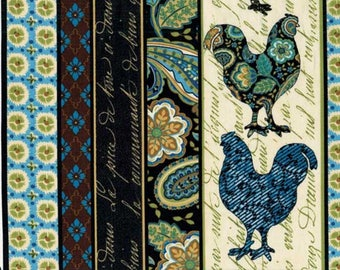 Blue patchwork with Timeless Treasures COUNTRY chickens fabric