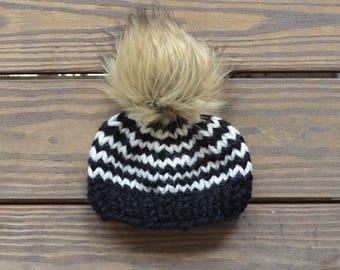 Fur Pom Pom Beanies, Baby Fur Pom Pom Hat, Toddler Hat for girls, Baby Fur Pom Pom Beanies, Knit Baby Beanie, Baby Pom Pom Hats, Baby Beanie
