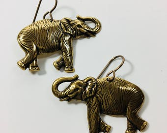 Beautiful Detailed Brass Elephant Earrings by Ten Dollar Studio where all items are always Ten Dollars