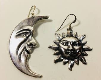 Detailed Sun and the Mood Silver Plated Earrings by Ten Dollar Studio where all items are always Ten dollars