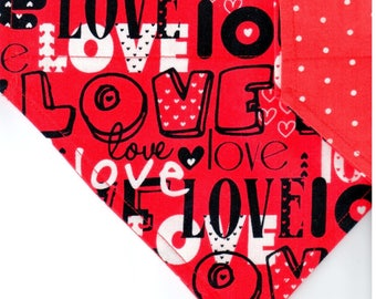 Love All Over   Valentines Day Dog Bandana   Dog Bandana   Puppy Bandana   Pet Bandana   Over the Collar Bandana