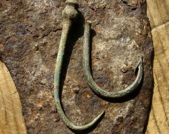 Ancient VIKING 8th-11th century AD large bronze fishing hooks / Authentic 1000-year-old Artifacts