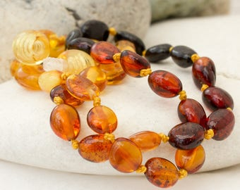 Multicolour Baltic Amber Teething Necklace