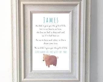 Adoption Print / 'gift of life' Poster / Adoption Quote / Nursery / Bear / Family / A4 Wall art / Love / adoption cards