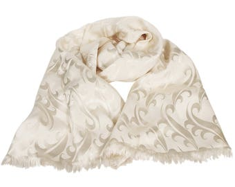 Antique 1930s Bridal Scarf, Satin Cream Neck Scarf, Vintage Metallic Scarf, Wedding Accessories, Waves Pattern Scarf, Paisley Collar Wrap
