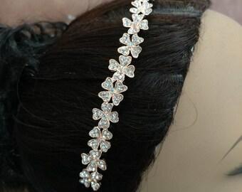 Gold flower headband wedding, gold headpiece, bride hairpiece