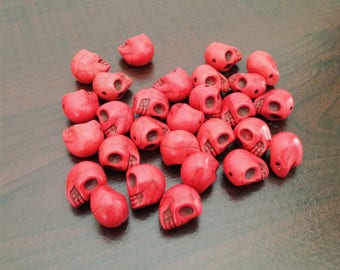 Red skull howlite beads 28 pieces