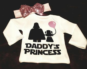 Daddy's Princess, Jedi Princess, Star Wars, Daddy's Girl, Princess Onesie or Tee with Matching Bow (Bows Could Vary - But All Are Adorable)