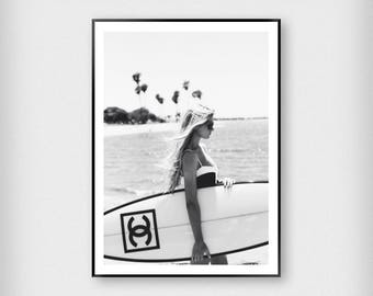 Chanel Surfboard Girl Print | Fashion | Black and White | Photography - Model - Poster