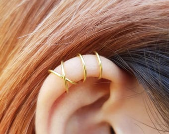 22k gold Set of 2 Ear Cuffs, Ear Cuff, No Piercing Earcuff,Double Ear Cuff and Criss Cross Ear Cuff,Cartilage,Simple Ear Cuff,Fake Cartilage