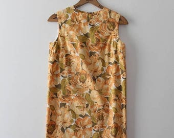 SUMMER SALE vintage 1960s dress // 60s orange cotton floral shift dress