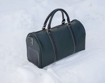 Sports bag made of genuine leather LOUIS VUITTON, Leather duffle bag, Leather weekend bag, overnight bag, gym bag, holdall in green Leather