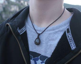 Gold obsidian, volcanic crystal pendant