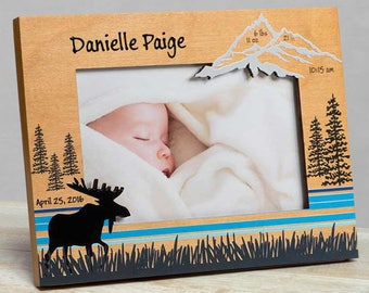 Personalized Baby Picture Frame, Baby Girl Picture Frame, New Baby Girl Frame, Baby Girl Frame, Baby Girl Birth Frame, Moose Baby Girl Frame