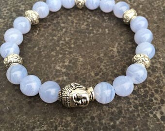Chalcedony bracelet and silver Buddha bead