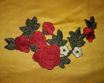 Beatiful Embroider Rose aplique Iron on it or sew