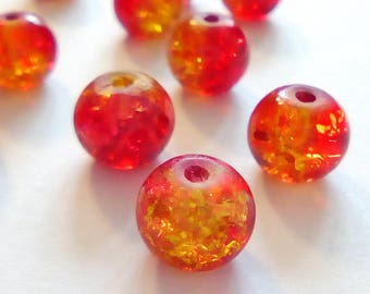 22 round beads red yellow glass Crackle 8mm