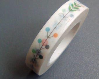 Washi tape 10 m white multicolored polka dot leaves