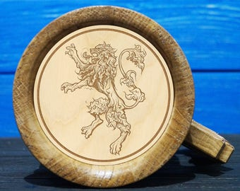 House Lannister Wooden Beer Mug, Game Of Thrones Gift, Engraved Beer Mug, Handmade Mug, GT05