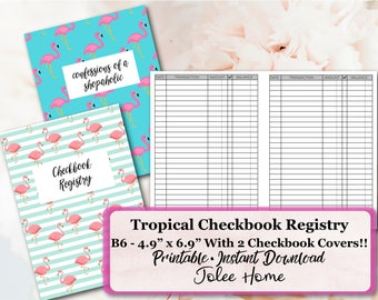 Checkbook Register  Book,B6 TN Checkbook Register, Printable Insert, Travelers Notebook Insert, Pdf: Checkbook Register with 2 covers!