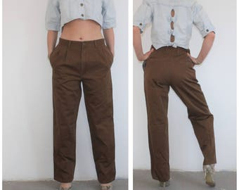 Vintage 90s High Waisted Jeans Brown Denim Pants W31 L30 High Rise Waist Tapered Leg Mom Jeans Brown Loose Fit Peg Leg Mum Pants High Rise