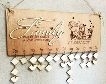 Family Birthday Board Custom Wood Sign - Family Celebrations Board - Family Birthday Calendar Custom Wooden Sign