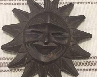 Vintage Handcrafted Wood Celestial Sunshine Art Scuptor