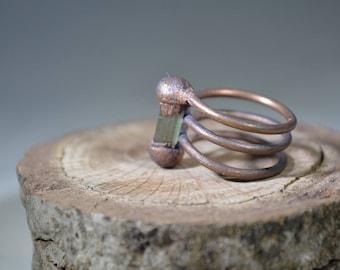 Green Paproks Tourmaline Spiral Ring, Copper Electroformed Ring,Raw Organic Gem,boho,Unique Crystal Ring,Gemstone Ring/Green Tourmaline Ring