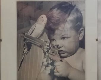 Vintage antiquite Original Photagraph (NOT A Comptuer print) ayuentikal photo original small child with pistol and a parrot