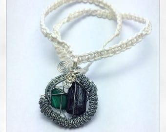 Malachite and black tourmaline macrame wire wrapped necklace